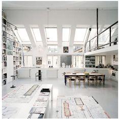 skylights, floor to ceiling bookcase, mezzanine...