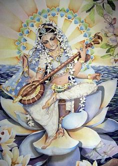 Goddess of Knowledge, Music, and the Arts Saraswati is the Hindu goddess of knowledge and the arts, embodies the wisdom of Devi. She is the river of consciousness that enlivens creation; Indian Goddess, Goddess Art, Ancient Goddesses, Gods And Goddesses, Saraswati Painting, Watercolor Negative Painting, Saraswati Goddess, Krishna Art, God Pictures