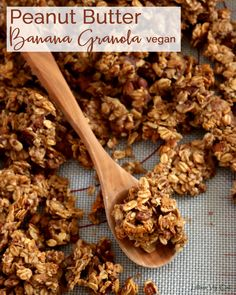 This vegan granola recipe is the perfect, flavorful and healthy breakfast recipe, ideal for meal prep. Loaded with banana, peanut butter, oats, walnuts, pecans and other tasty ingredients, this is truly the best vegan granola that's simple to make! Gluten free. #PeanutButter #Banana #Granola #Walnuts #Pecans #HempSeeds #FlaxSeeds #MapleSyrup #Homemade #Breakfast #HealthyBreakfast #BreakfastRecipe #Vegan #VeganRecipe #VeganBreakfast #MealPrep #VeganMealPrep #HealthyMealPrep #Oatmeal #GlutenFree Banana Granola, Vegan Granola, Peanut Butter Granola, Healthy Peanut Butter, Peanut Butter Banana, Homemade Breakfast, Vegan Breakfast Recipes, Vegan Recipes Easy, Vegetarian Recipes