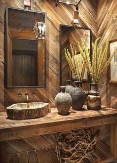 Rustic Bathroom Designs, Rustic Bathrooms, Bathroom Interior Design, Barn Siding, Sink Design, House Design, Jeff Andrews, Home, Waterworks