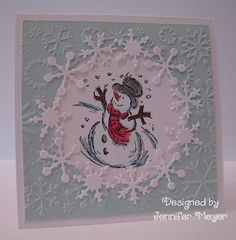 embossed snowflake card--like the diecut snowflakes!