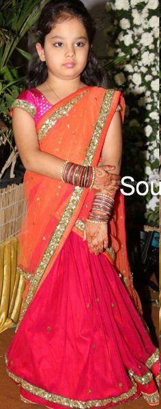 Half sarees for kids Kids Indian Wear, Kids Ethnic Wear, Indian Girls, Frocks For Girls, Little Girl Dresses, Girls Dresses, Baby Dresses, Baby Lehenga, Lehenga Choli
