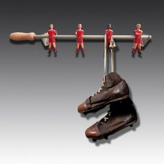 Forget plain boring wall hooks. Choose which colour vintage football players you want to hang your coats on. RS Wall Champions | The Games Room Company