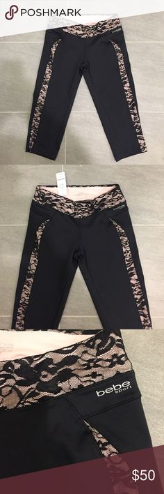Bebe lace inset capri bebe sport pants XS Bebe lace inset pants bebe sport brand new with tags, size XS. Also see matching jacket in another listing. 🙅🏻 PLEASE DO NOT ASK LOWEST PRICE 🙅🏻 ------------ Instead ---------------- ✅ USE OFFER BUTTON ✅ --------😐 no low balling please😐-------- 💁🏻 NO DRAMA HERE LETS BE NICE 🤗 🚫🚭 SMOKE FREE - PET FREE HOME 🚫🐾 👉 NO TRADES 👈 bebe Pants Skinny