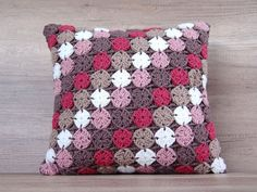 Hippie gypsy crochet cushion, Modern boho throw pillow cover, Colorful retro granny square cushion, Coffee beige throw pillow - Decoration for All Crochet Pillow Cases, Crochet Cushion Cover, Crochet Pillow Pattern, Crochet Cushions, Crochet Motif, Crochet Patterns, Knit Pillow, Cushion Covers, Crochet Lace