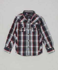 Take a look at this Charcoal Plaid Woven Button-Up - Toddler & Boys by Micros on #zulily today!