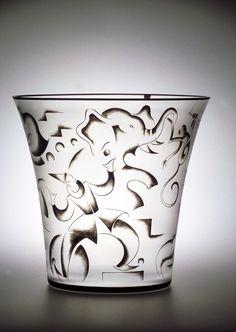 "Vicke Lindstrand (Swedish, 1904-1983), Orrefors, ""Circus"" Enameled Glass Vase."