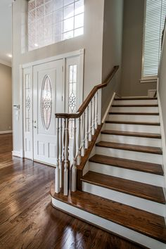 #Hardwood Staircase  Oak steps with paint grade risers, #Stairscase remodeling  #wood Staircase