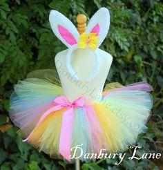 Baby Easter Tutu and Bunny Ears Pastel Rainbow by DanburyLane, $27.95