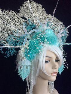 Mermaid Queen Headdress teal white iridescent cosplay | Etsy Sea Costume, Queen Costume, Mermaid Bra, Mermaid Crown, Mardi Gras Costumes, Halloween Costumes, Cosplay, Sea Queen, Mermaid Parade