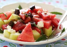 Chilled Watermelon Cucumber Feta Salad | Skinnytaste.  Servings: 4  • Size: 1 1/4 cups  • Old Points: 3 pts • Weight Watcher Points+: 3 pt Calories: 112 • Fat: 3.5 g • Carb: 19 g • Fiber: 2 g • Protein: 4 g • Sugar: 15.5 g Sodium: 233 mg  • Cholest: 6.3 mg