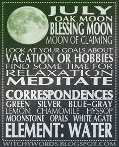 July full moon correspondences and intentions.