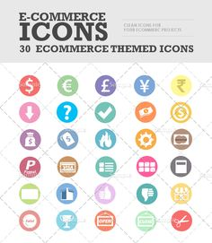 n this set you'll find 30 different simple ecommerce inspired icons/stamps. Perfect for your webpages, to add punch in your emails etc. Can also be used directly in Snagit as Stamps. Included is 30 different colorful flat icons in PNG transparent format in 60×60 pixels.