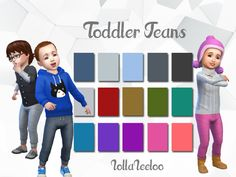 I bring you a set of 15 jeans for your toddlers. The jeans are Maxis match, with a small tie in the front and will fit both male and female tots.  Found in TSR Category 'Sims 4 Toddler Female'
