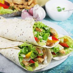 Fajitas, Chicken Wraps, No Bake Cake, Food Porn, Food And Drink, Healthy Eating, Tasty, Lunch, Healthy Recipes