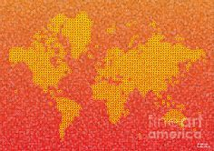 World Map Kotak In Yellow Orange And Red by elevencorners. World map wall print decor. #elevencorners #mapkotak