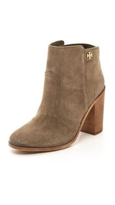Tory Burch Leena Suede Mid Heel Booties. in search of the perfect pair of nude booties! by terry