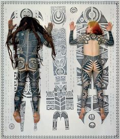 """Completely tattooed Mario and Yvonne's inspiration is derived from the Marquesas Islands in the Polynesian Pacific, it is from there that the word 'tatow' or'tatau' meaning to mark something originates. Body Art Tattoos, Tribal Tattoos, Cool Tattoos, Tattoo Ink, Black Tattoos, Henna, Mystic Symbols, Tattoo Posters, Marquesan Tattoos"