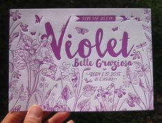 Fairy in a Field of Violets Custom Letterpress Birth Announcements by colorquarry on Etsy https://www.etsy.com/listing/251527659/fairy-in-a-field-of-violets-custom