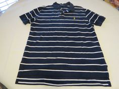 Polo by Ralph Lauren Men's short sleeve polo shirt navy blue L cotton EUC@ #PolobyRalphLauren #PoloRugby