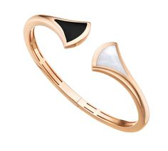 Bulgari Diva bracelet with mother-of-pearl and onyx set in 18-karat pink gold.