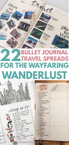 22 creative travel journal ideas for your bullet journal travel log with place i've been and visited memories page, things to do, and packing list