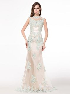 Trumpet/Mermaid Sleeveless Scoop Tulle Applique Sweep/Brush Train Dresses