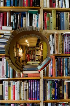 Gorgeous peephole library #books #interiordesign
