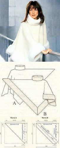 Poncho con borde de piel - Poncho with fur trim. Diy Clothing, Sewing Clothes, Clothing Patterns, Dress Patterns, Sewing Patterns, Poncho Pattern Sewing, Cape Pattern, Fashion Patterns, Pattern Drafting