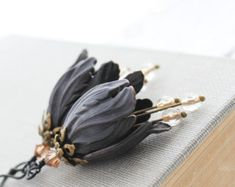 Black Tulip Earrings Floral Dangle Nature Earring Blackened Brass Flowers Botanical Boho Chic French Romantic Statement Jewelry Gift for Her
