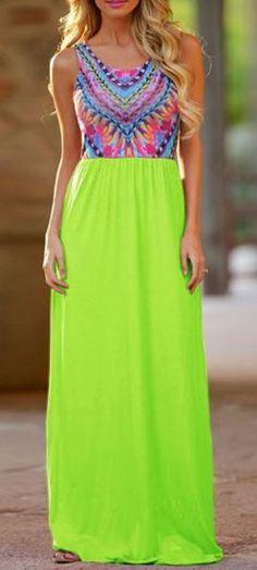 Bold Neon Color! Neon Green Color Block Spliced Chevron Tribal Stripe Maxi Dress #Neon #Green #Ethnic #Tribal #Print #Maxi #Dress #Fashion
