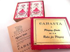 Canasta Playing Cards Vintage 1950 2 Decks Game Cards and Rules in Original Box