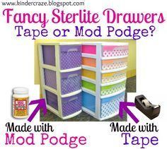 Sterilite Drawers are great for organization of any kind, especially in a craft room.  Scrapbook paper is from a paper pack from Hobby Lobby. Here is an update made with Mod Podge rather than tape. Great instructions.