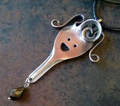 Silverware Fork Art Pendant with a Face and a by BenakSilverWear