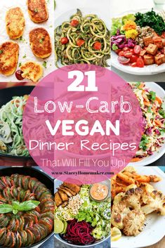 Low Carb Vegetarian Recipes, Vegan Meal Plans, Vegan Dinner Recipes, Vegan Foods, Vegan Dinners, Low Carb Recipes, Diet Recipes, Healthy Recipes, Low Carb Vegan Diet