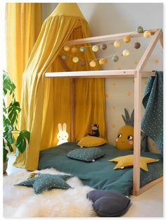 Tropical flair with our house bed-Tropisches Flair mit unserem Hausbett Hier nach sich ziehen wir senfgelb mi Tropical flair with our house bed Here we draw mustard yellow mi have - Baby Bedroom, Baby Room Decor, Nursery Room, Girls Bedroom, Bedroom Yellow, Yellow Walls, Bedroom Ideas, Bedroom Decor, Yellow Curtains