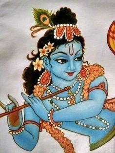 Saree Painting, Kerala Mural Painting, Indian Art Paintings, Madhubani Painting, Fabric Painting, Dress Painting, Shiva Art, Krishna Art, Krishna Images