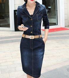 6f49991cd95 Medium Long Denim Dress With Turn-Down Collar. Long Denim DressJeans ...