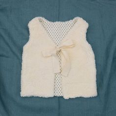 Baby Fur Vest For Girls, Organic Cotton Plush Fur And Polka Dot Cotton Lining, READY TO SHIP