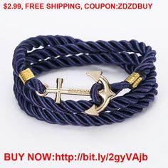 2016 New Arrive DIY Rope Black Blue Anchor Bracelet Fashion Women Men Hooks Bracelet Wholesale