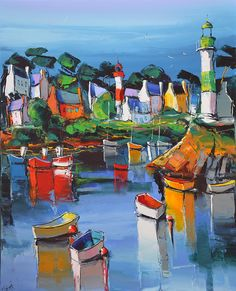 Original Boat Painting by Denis Moroz Abstract Landscape, Landscape Paintings, Abstract Art, Eric Le Pape, Mediterranean Paintings, Art Français, Boat Art, Boat Painting, Water Art