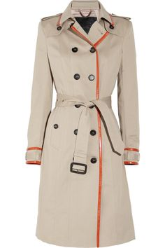 Leather-trimmed cotton-gabardine trench coat by Burberry Prorsum