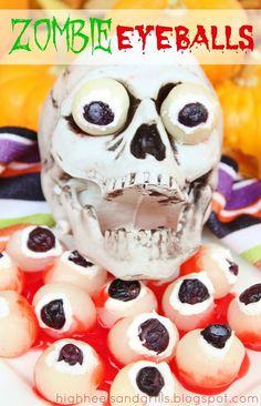 Zombie Eyeballs. #halloween #treat #creepy http://www.highheelsandgrills.com/2012/10/zombie-eyeballs.html