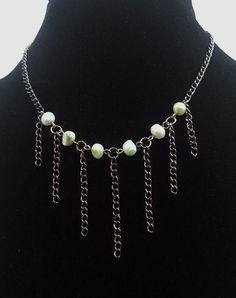 Pale Green Freshwater Pearl and Silver Fringe by AurabyPortia