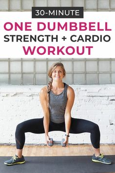 This full body workout is the best of both worlds -- strength training and HIIT cardio meet in an effective, sweaty circuit workout you can do with just a single dumbbell! #dumbbell #dumbbellworkout #workoutsforwomen