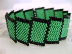 Peyote Bracelet in Green and Black Seed Bead Cuff Beaded Bold Beadwork on Etsy, $46.96 CAD