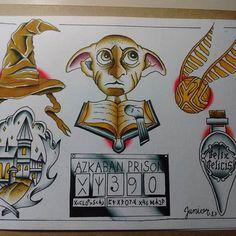 Картинки по запросу harry potter old school tattoo