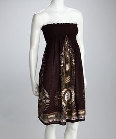Take a look at this Brown Tribal Convertible Dress - Women by Kushi on #zulily today!