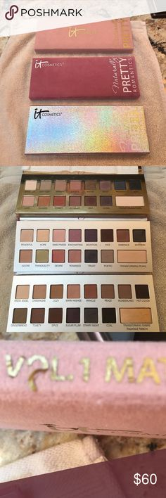 3 IT Cosmetics Naturally Pretty Palettes IT Cosmetics Naturally Pretty Vol. 1 Matte- used but lots left- wording is coming off on outside- see picture.  IT Cosmetics Naturally Pretty Romantics Vol. 2- barely used.  IT Cosmetics Naturally Pretty Celebration Palette- barely used.  They all will come with original boxes.  No trades IT Cosmetics Makeup Eyeshadow