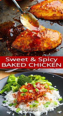 Baked Firecracker Sweet and Spicy Chicken Breast Spicy Baked Chicken, Sweet And Spicy Chicken, Sweet And Spicy Sauce, Spicy Chicken Recipes, Baked Chicken Breast, Cooking Ribs On Grill, Kfc Chicken Recipe, New Recipes For Dinner, Firecracker